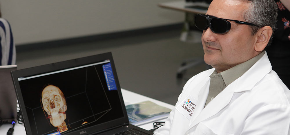 Professor Viewing Anatomy in 3D
